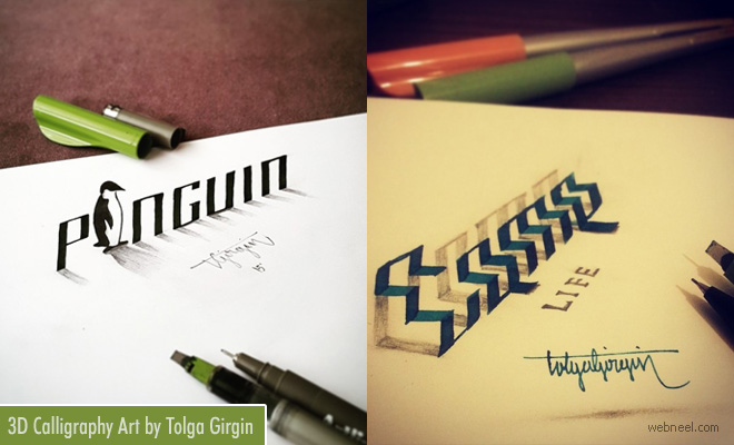Leaping Letters 3D Calligraphy Works and Typography Art By Tolga Girgin