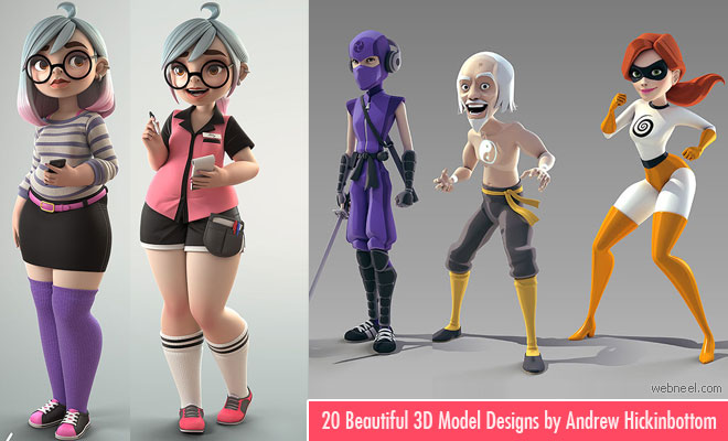 20 Beautiful 3D Cartoon Character Designs by Andrew Hickinbottom