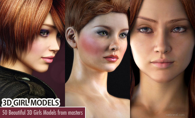 50 Beautiful 3D Girls and CG Girl Models from top 3D Designers