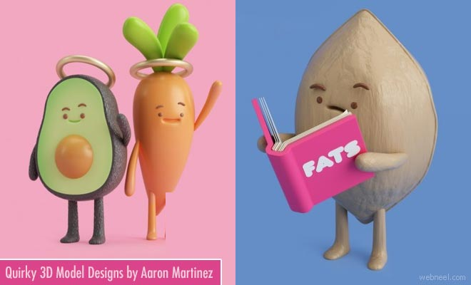 Quirky 3D Model Designs and illustrations by Aaron Martinez