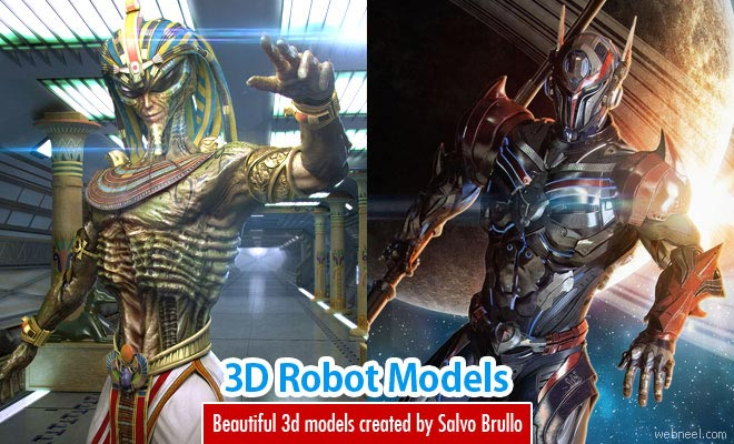 Beautiful 3D Robot Models and Character designs by Salvo Brullo