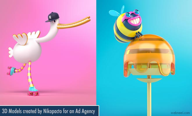 Cute 3D Models and Character Designs created by Nikopacto for an Ad Agency