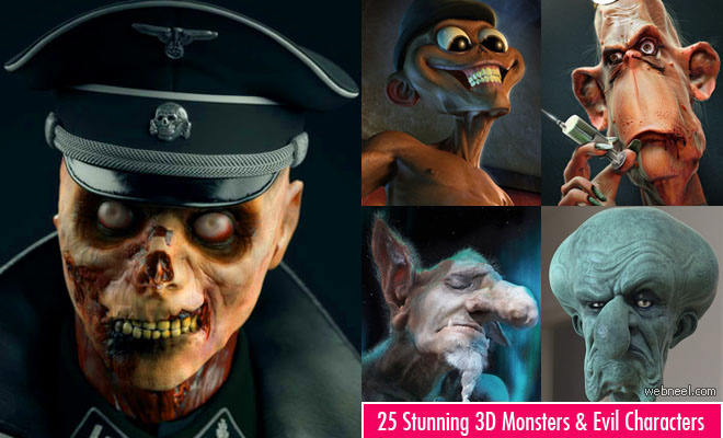 50 Stunning 3D Monster Models and 3D Evil Character Designs