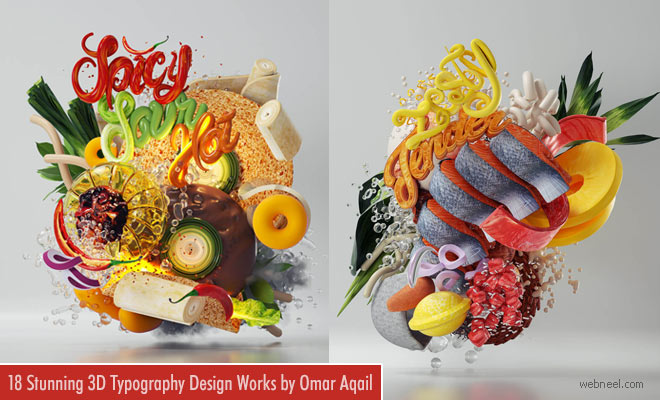 20 Stunning 3D Typography Design works and ideas by Omar Aqail