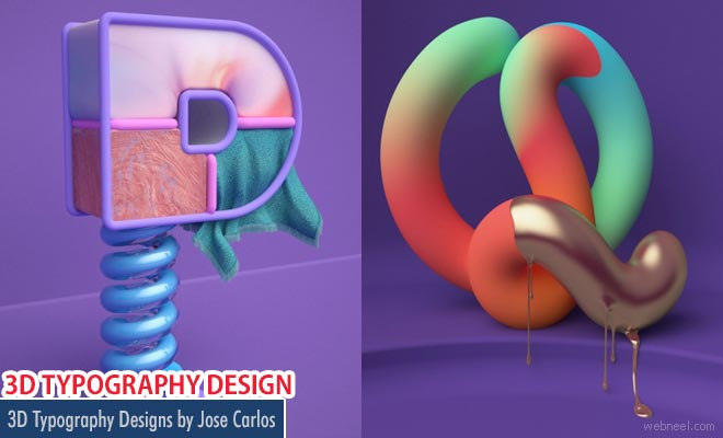Simple Creative and Colorful 3D Typography Designs by Jose Carlos