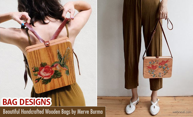 Creative Wooden Bags With Cross Stitch Embroidery by Merve Burma