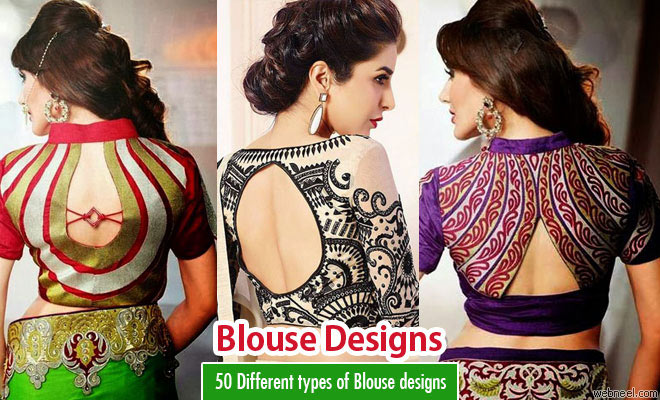 50 Different types of Blouse Designs Patterns - Designer Saree Blouses -part 3