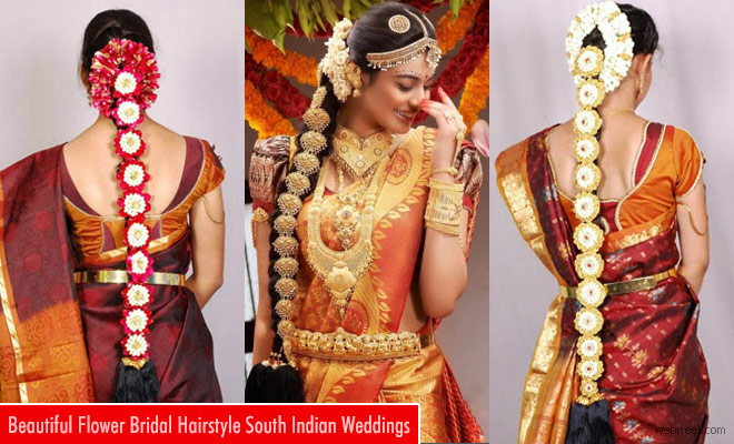 South Indian Bridal Hairstyle With Flowers For Wedding Glamour