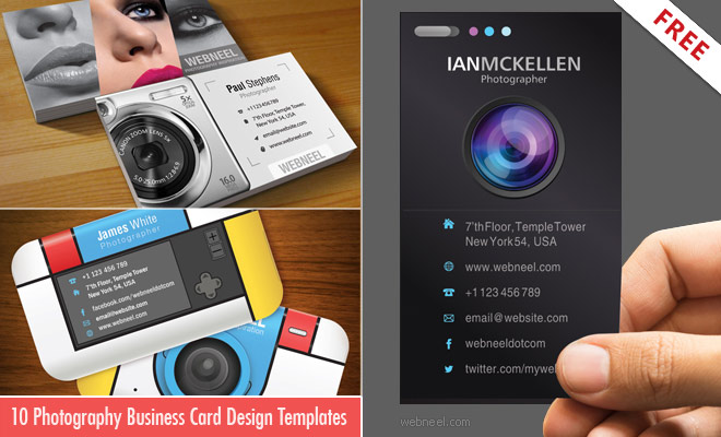 10 Business card design templates for Photographers - Download AI PSD