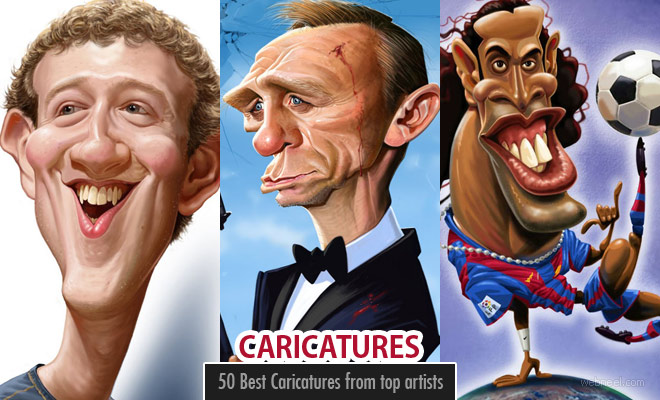 50 Best and Funny Celebrity Caricature Drawings from top artists