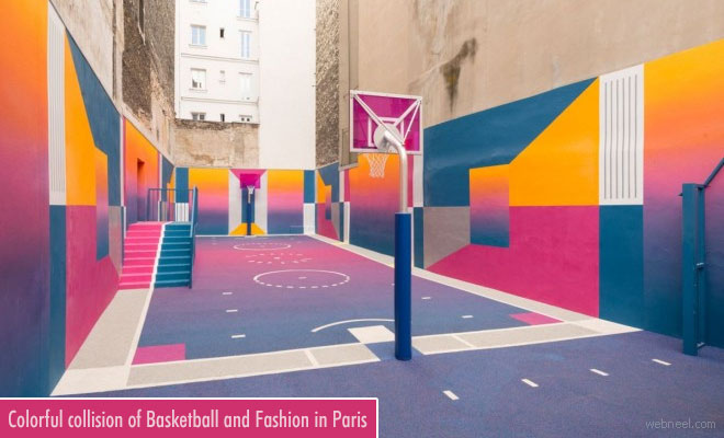 Colorful collision of basketball and fashion in Paris - Exterior Coloring Ideas