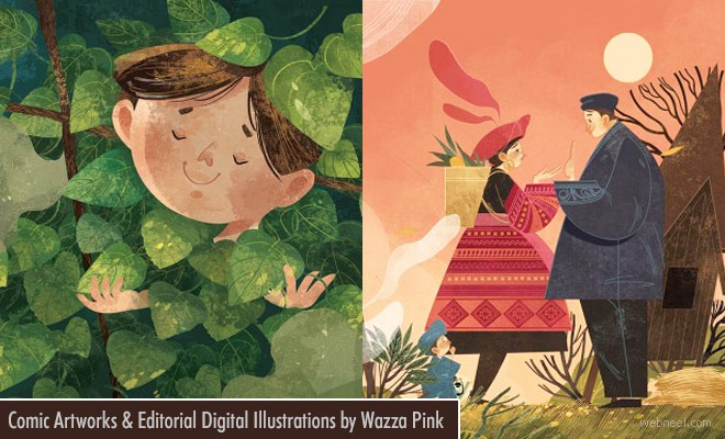 Exciting Comic Art works and Editorial Digital Illustrations by Wazza Pink