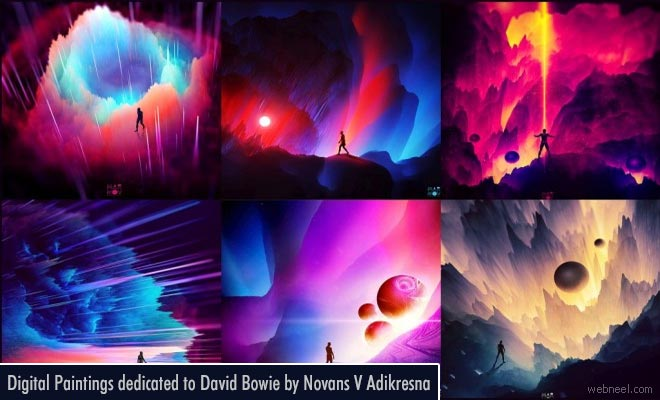Colorful Digital Paintings dedicated to Music Artist David Bowie
