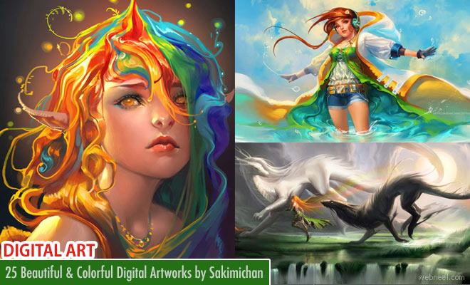 25 Beautiful and Colorful Digital Art works by Sakimichan