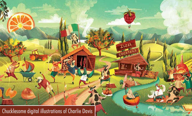 Chucklesome digital illustrations of London based illustrator Charlie Davis