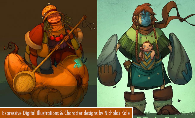Expressive Digital Illustrations and Character designs by Nicholas Kole