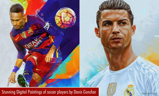 Stunning Digital Paintings of soccer players by Denis Gonchar