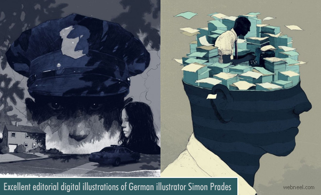 Excellent Editorial Digital illustrations of German illustrator Simon Prades