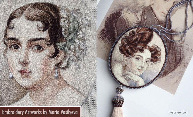 Renaissance theme Inspired Embroidery Artworks by Maria Vasilyeva