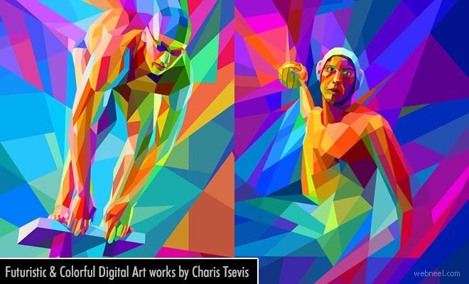 Futuristic and Colorful Digital Art works by Charis Tsevis