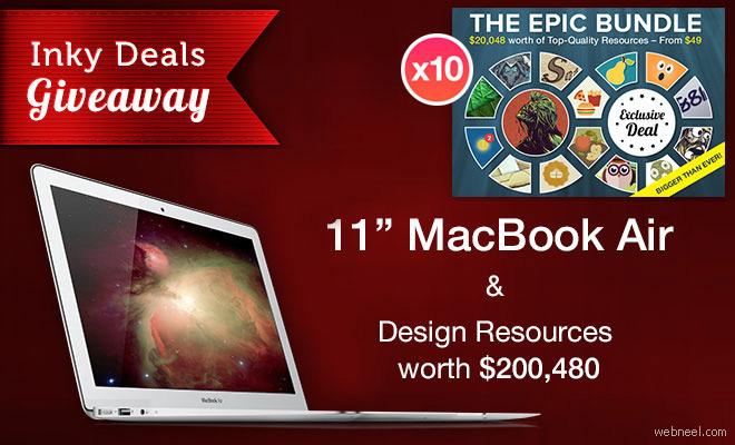 "Inky Deals Giveaway: 11"" MacBook Air & Design Resources worth $200,480"