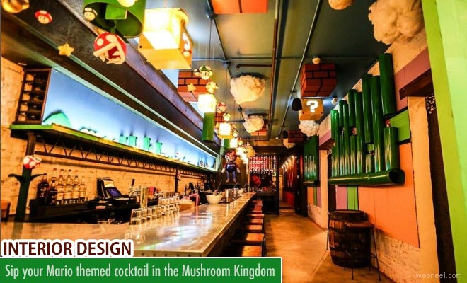 Sip your Mario themed cocktail in the Mushroom Kingdom - Interior Designing