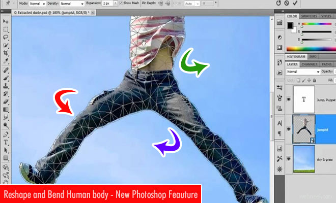 Reshape and Bend Human body using Adobe Photoshop puppet warp feature