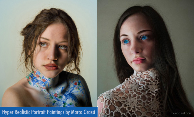 Stunning Hyper-realistic Portrait Paintings with a twist to reality by Marco Grassi