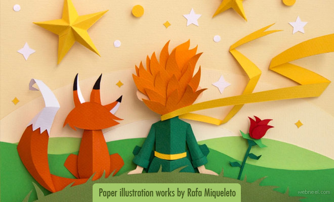 Fascinated Paper illustration project inspired by the movie Little Prince by Rafa Miqueleto