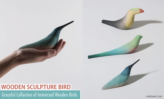 Graceful collection of immersed Wooden Bird sculptures By Moises Hernandez