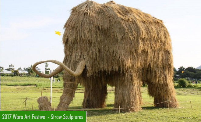 Mammoth Size Rice Straw Sculpture - 2017 Wara Art Festival Japan