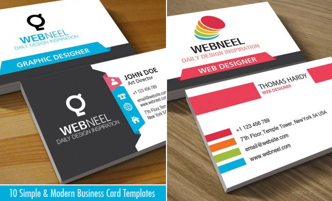 10 Simple and Modern Business Card Templates - Free Download