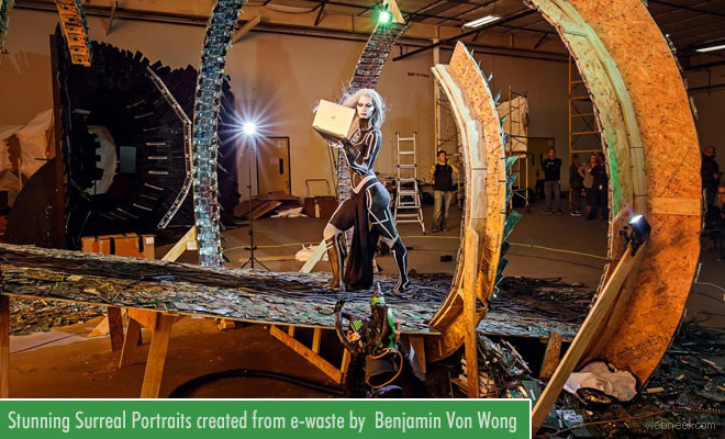 Stunning Surreal Portraits created from e-waste by Photographer Benjamin Von Wong