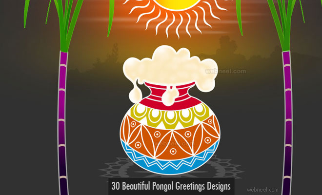 30 Beautiful Pongal Greetings Designs for your inspiration