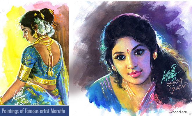 20 Beautiful Tamilnadu Paintings by famous artist Maruthi - Indian Paintings