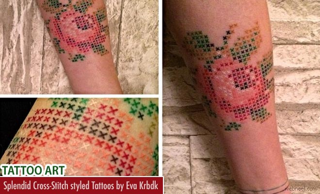 Splendid Cross-Stitch styled Tattoo Art works by Eva Krbdk