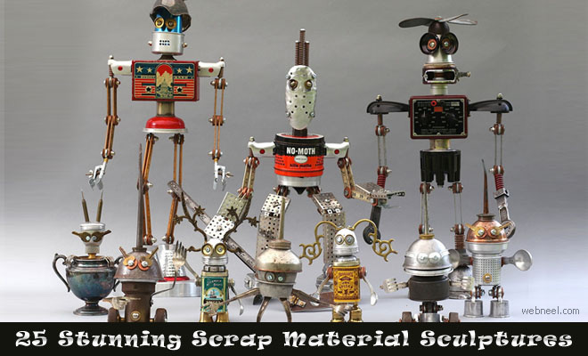 Sculptures from scrap materials