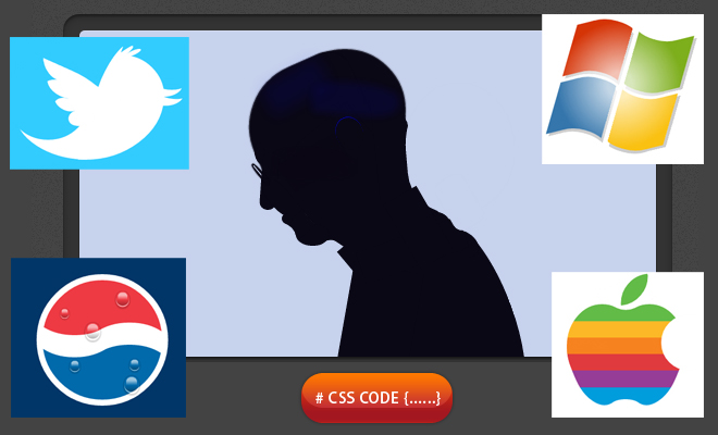 CSS code - Draw Steve Jobs, Apple logo, twitter, windows, nike and more