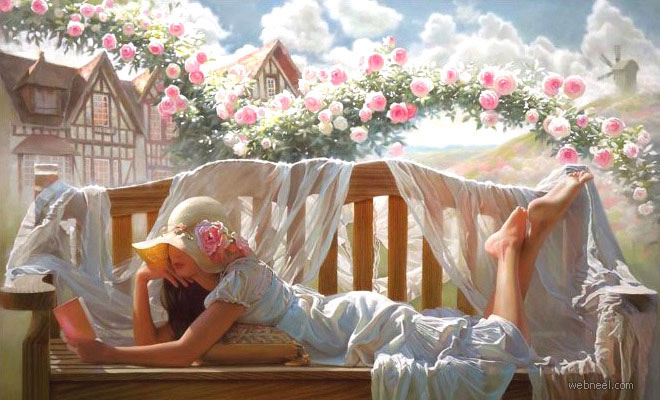 25 Beautiful Oil Paintings by Andrei Belichenko - Woman, Garden and Dreams