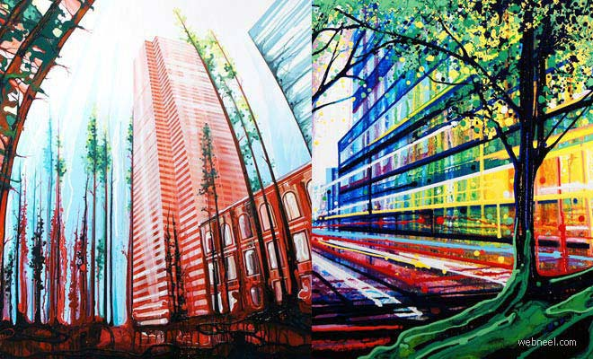 25 Beautiful Brush Less Paintings by AmyShackleton - Urban Landscapes with Gravity