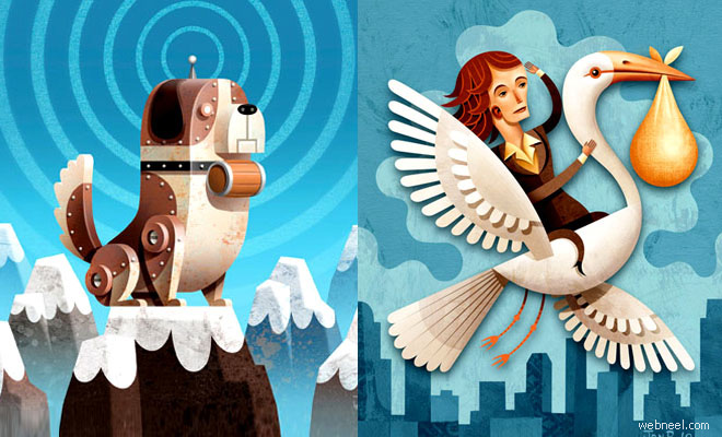 25 Creative and Awesome Editorial Illustrations by Jon Reinfurt
