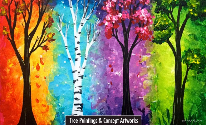 20 Beautiful Tree Paintings and Colorful painting ideas