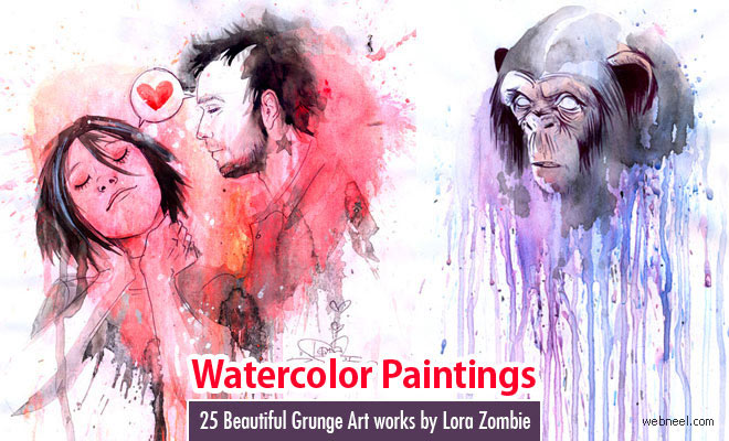 25 Beautiful Grunge Art works by Lora Zombie - Psychedelic Watercolor Paintings