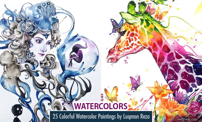 25 Beautiful and Colorful Watercolor Paintings by Luqman Reza Mulyono