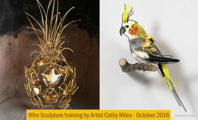 Wire Sculpture Training by London Artist Cathy Miles - Oct 2016