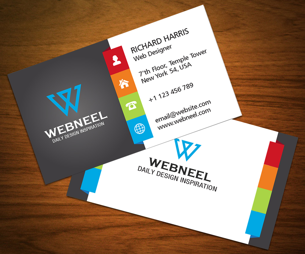 3 Colorful corporate business card template