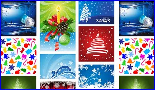 Christmas Greeting card vector template EPS