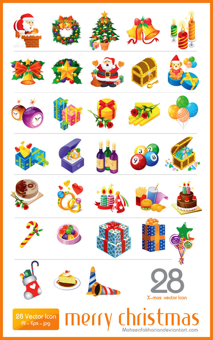 28 Vector Christmas Icon set AI EPS