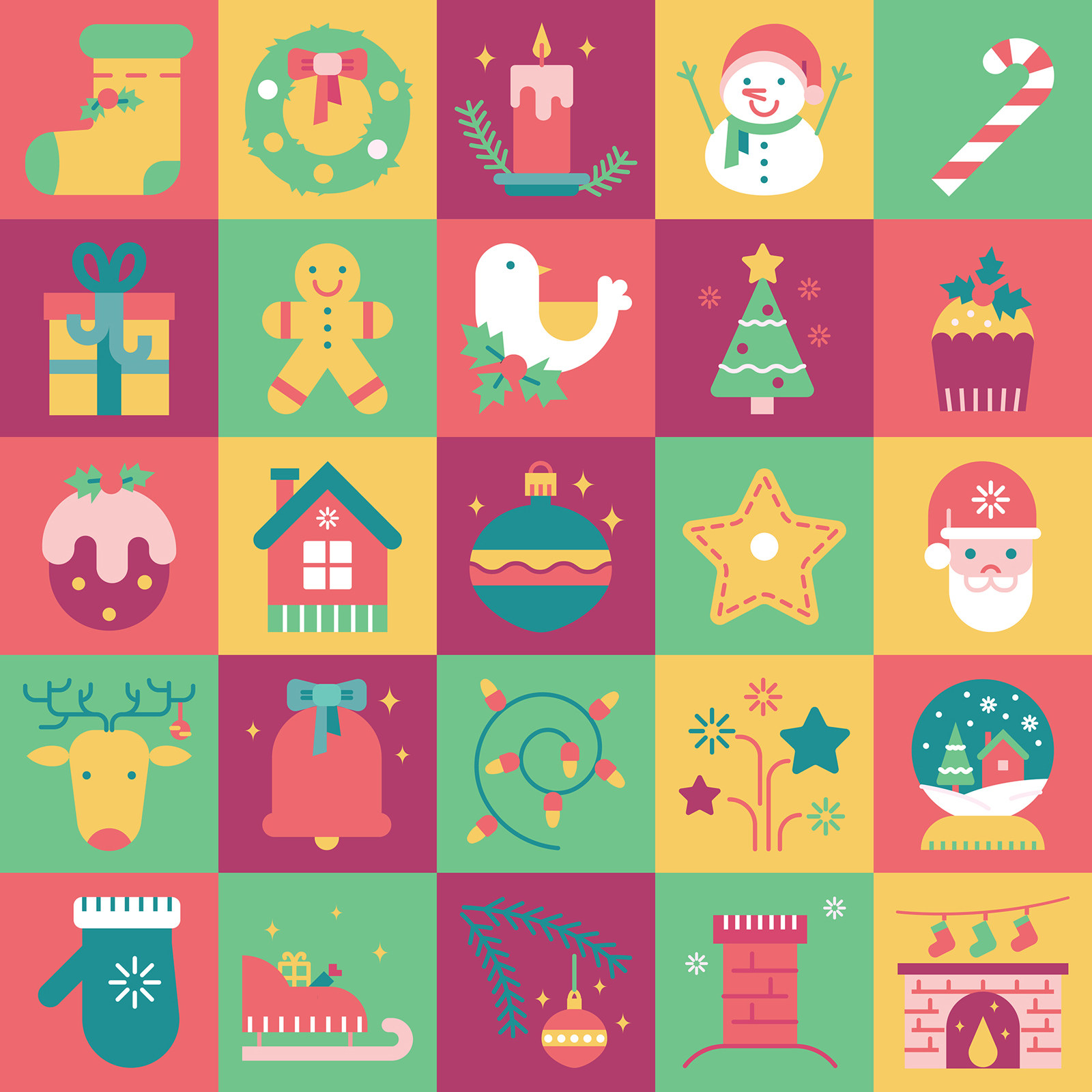 Christmas icon set design by hakaba chan