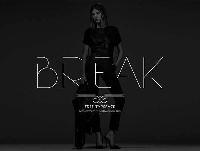 Free Font modern slim   Break